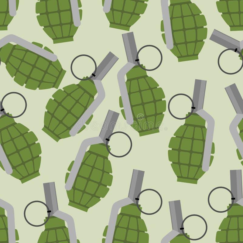 Teste padrão sem emenda da granada verde Projétil das forças armadas do fundo ilustração stock