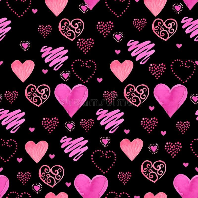 Teste padrão sem emenda da ilustração bonita da aquarela com corações vermelhos da aquarela Projeto romântico do fundo no preto ilustração do vetor