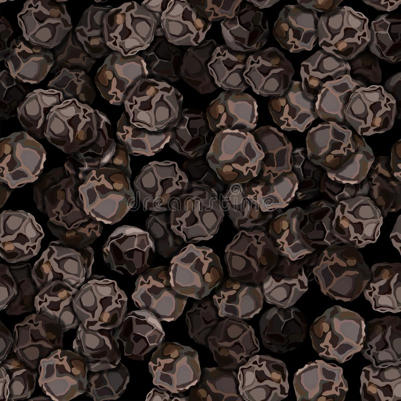 Teste padrão sem emenda da ilustração do vetor do close up da pimenta preta foto de stock
