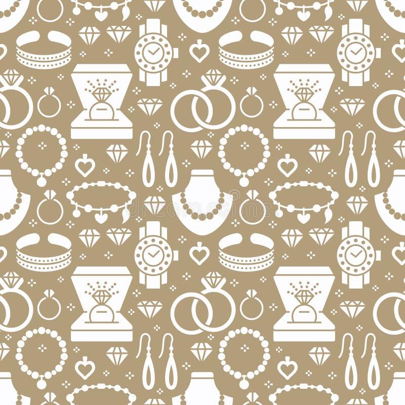Teste padrão sem emenda da joia, ilustração do glyph Vector ícones da silhueta de acessórios das joias - aneis de noivado do ouro ilustração royalty free