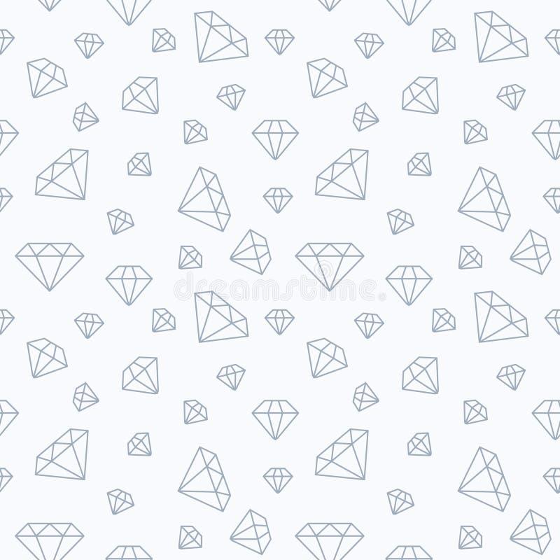 Teste padrão sem emenda da joia, linha lisa ilustração dos diamantes Ícones do vetor dos brilliants Branco da loja da forma repet ilustração stock