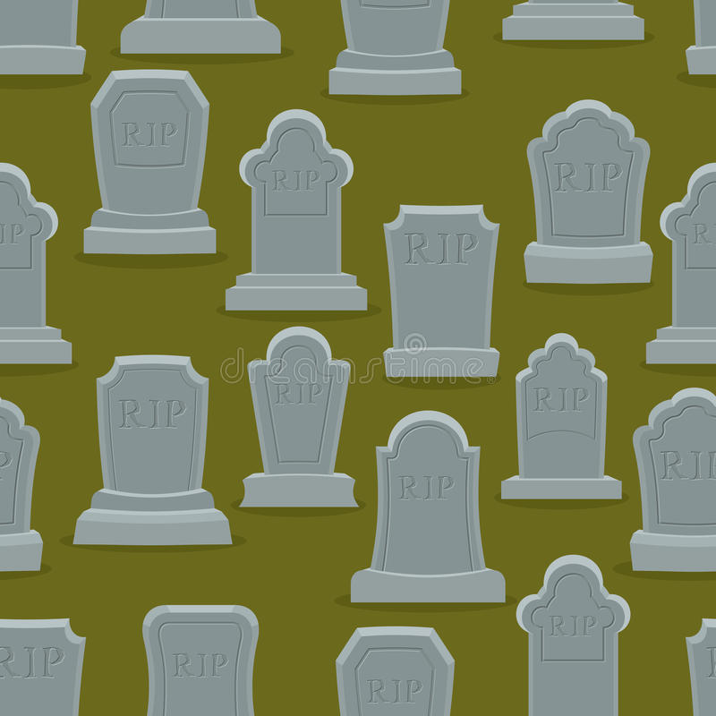 Teste padrão sem emenda da lápide Ornamento velho da lápide Vagabundos do cemitério ilustração do vetor