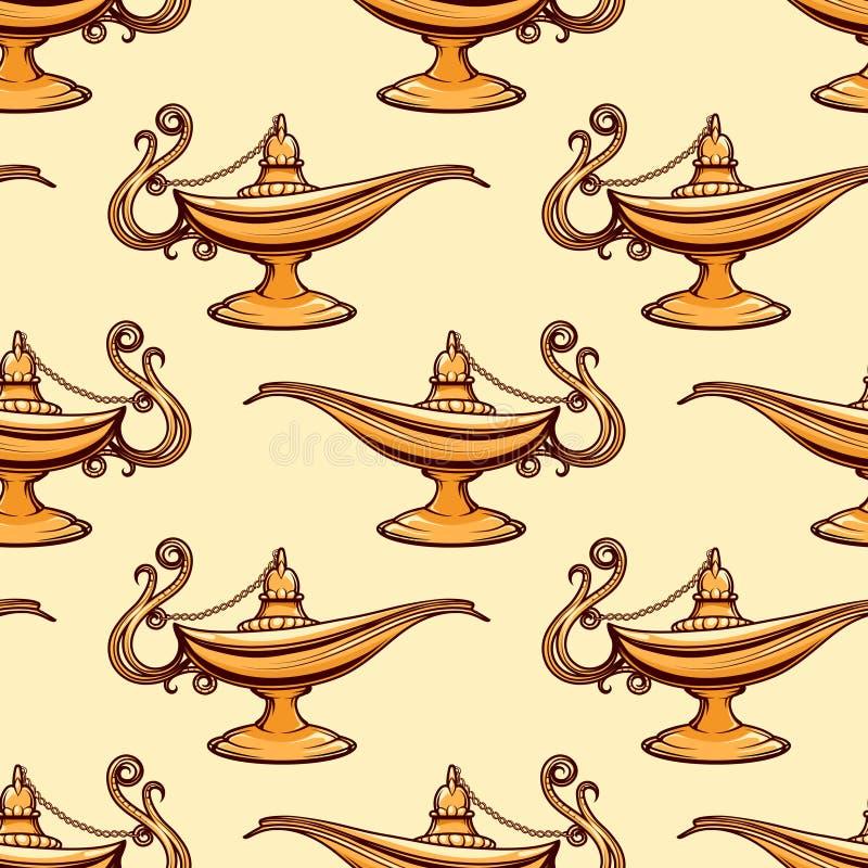 Teste padrão sem emenda da lâmpada de aladdin do ouro ilustração royalty free