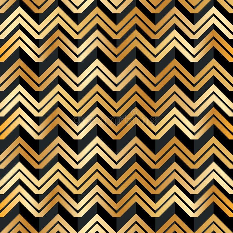 Teste padrão sem emenda da listra preta dourada de Chevron ilustração stock
