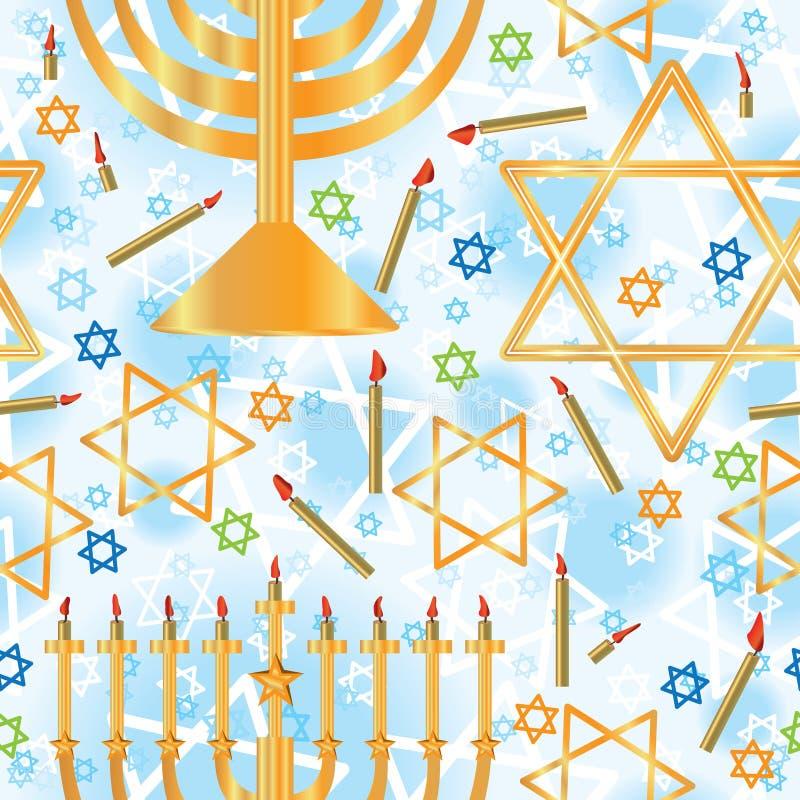 Teste padrão sem emenda da luz da estrela de Hanukkah ilustração do vetor