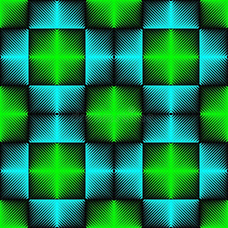 Teste padrão sem emenda da luz de néon Fundo azul e verde abstrato ilustração stock