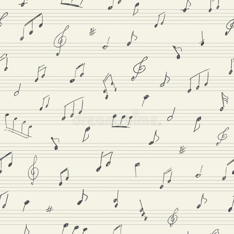 Teste padrão sem emenda da música com notas musicais escritas à mão ilustração royalty free