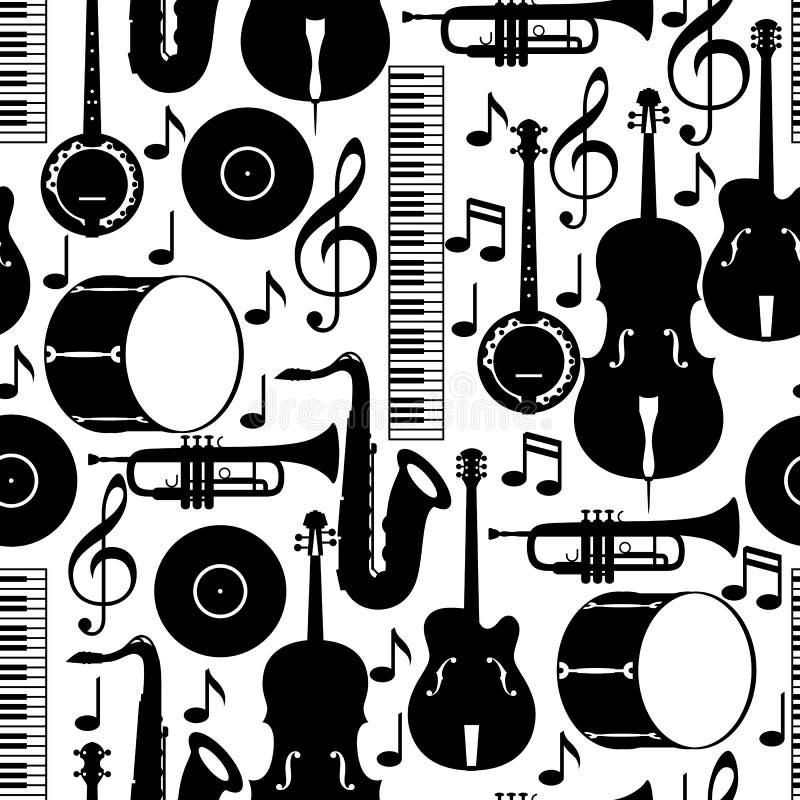 Teste padrão sem emenda da música jazz com instrumentos musicais ilustração royalty free