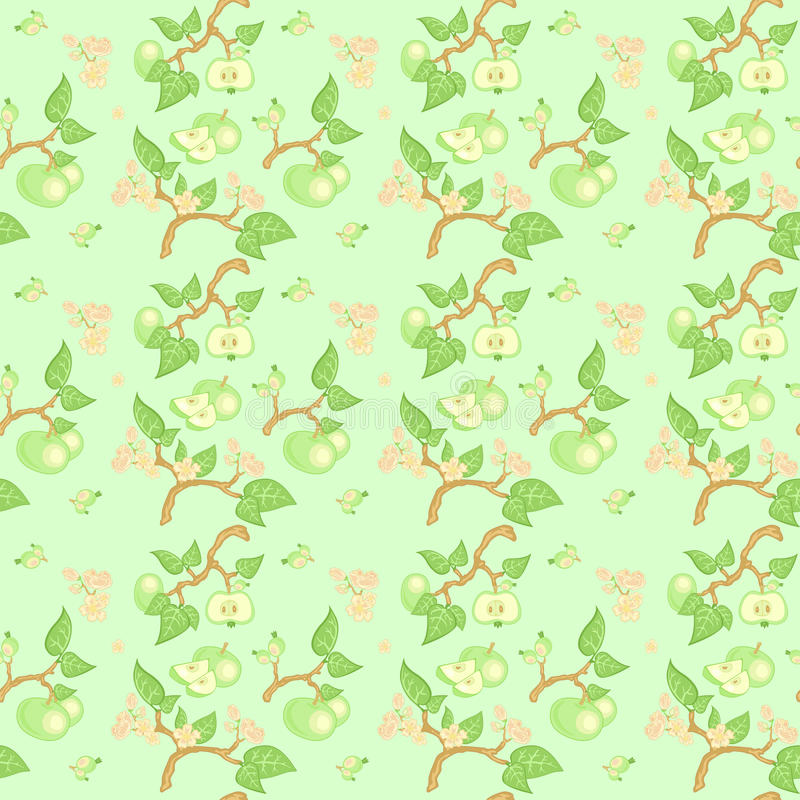 Teste padrão sem emenda da maçã verde fotos de stock royalty free