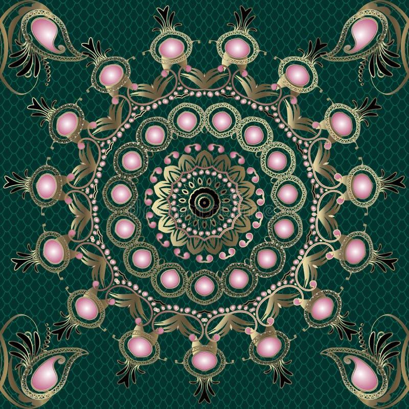 Teste padrão sem emenda da mandala de Paisley do vintage Ate o fundo verde decorativo Ornamento oriental do estilo floral do arab ilustração royalty free