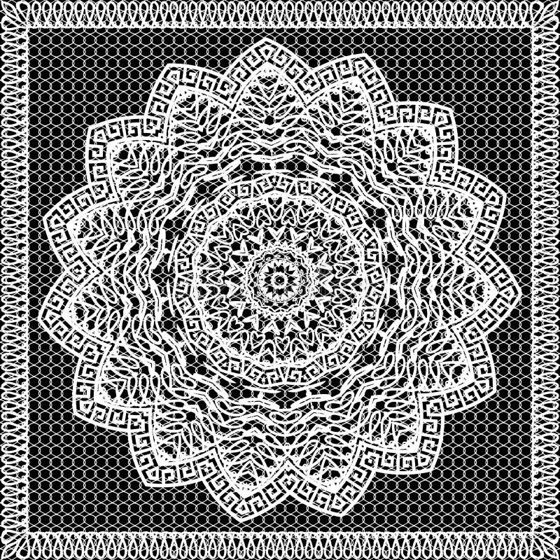 Teste padrão sem emenda da mandala decorativa redonda do grego do laço Fundo laçado da grade Projeto monocromático ornamentado pr ilustração do vetor