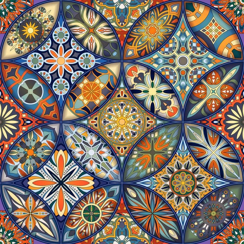 Teste padrão sem emenda da mandala floral étnica Fundo colorido do mosaico ilustração royalty free