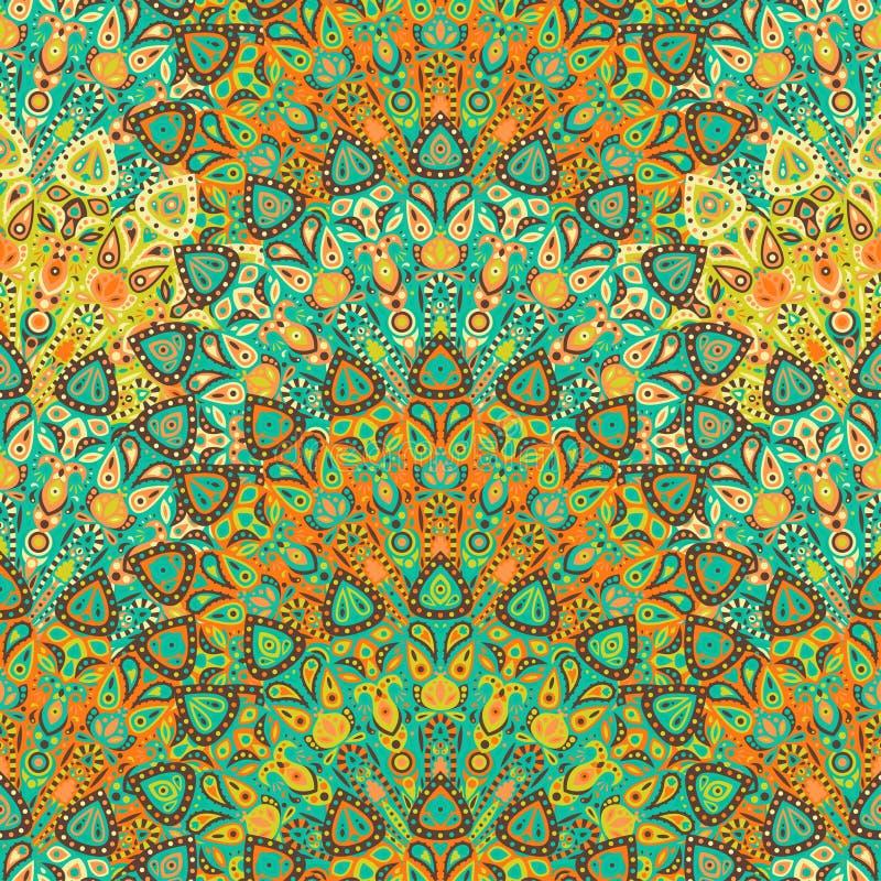 Teste padrão sem emenda da mandala redonda Árabe, indiano, islâmico, ornamento do otomano Teste padrão floral amarelo e verde, mo ilustração stock