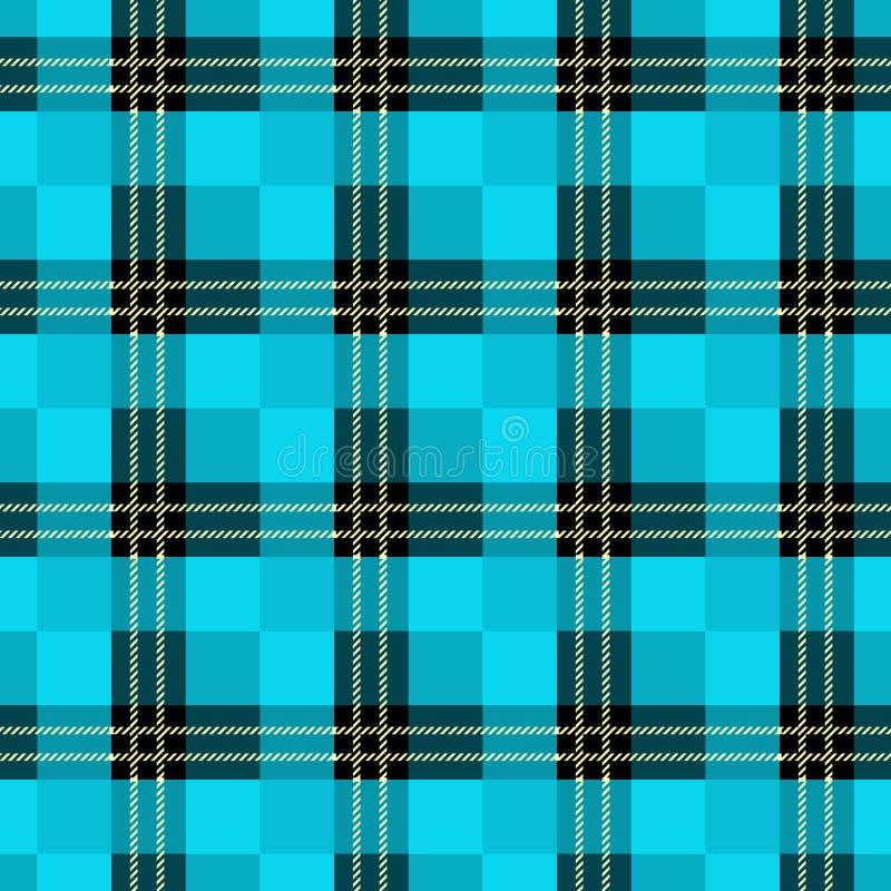 Teste padrão sem emenda da manta de tartã Cópia quadriculado da textura da tela no azul cinzento escuro, marinha, pálida - azul e ilustração do vetor