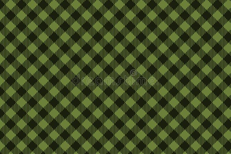 Teste padrão sem emenda da manta preta verde do lenhador ilustração royalty free