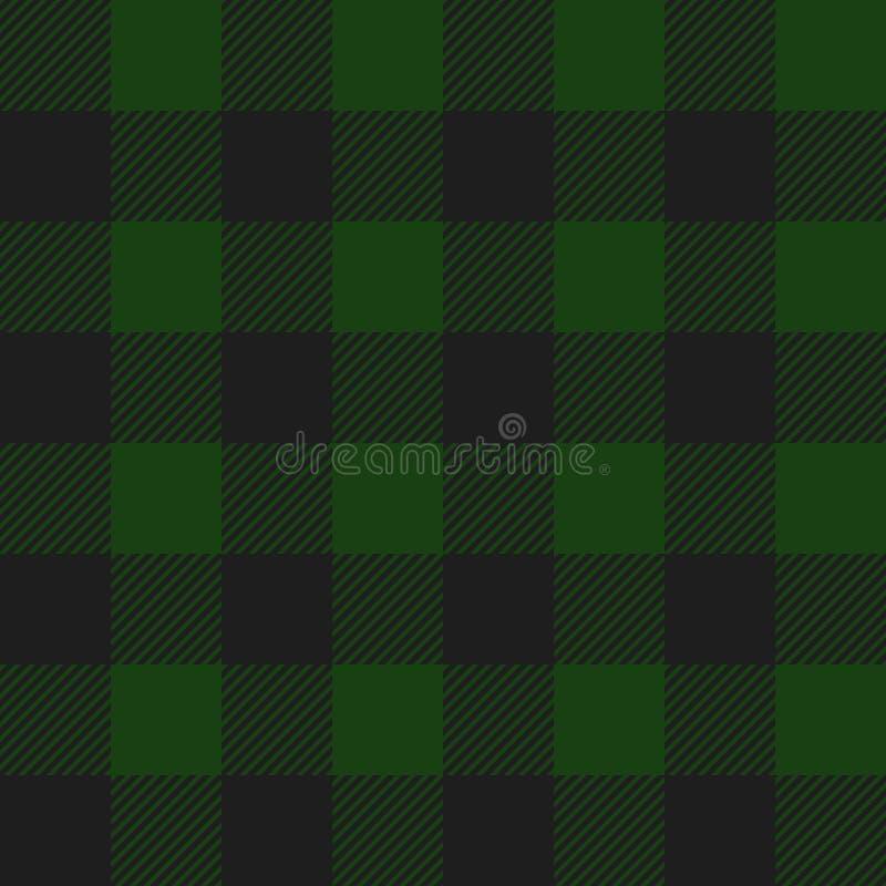 Teste padrão sem emenda da manta da verificação do búfalo verde e preto ilustração stock