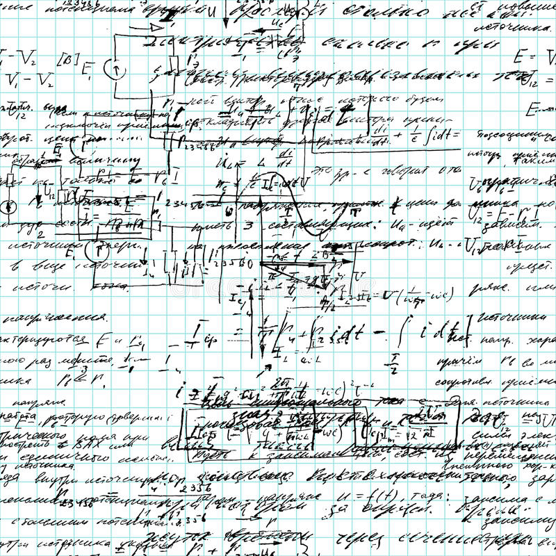 Teste padrão sem emenda da matemática escrito à mão em um papel do caderno da grade ilustração stock