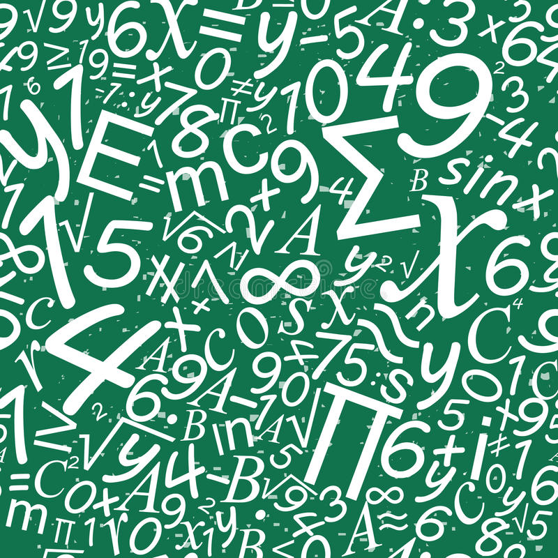 Teste padrão sem emenda da matemática, fundo da mesa da escola ilustração royalty free