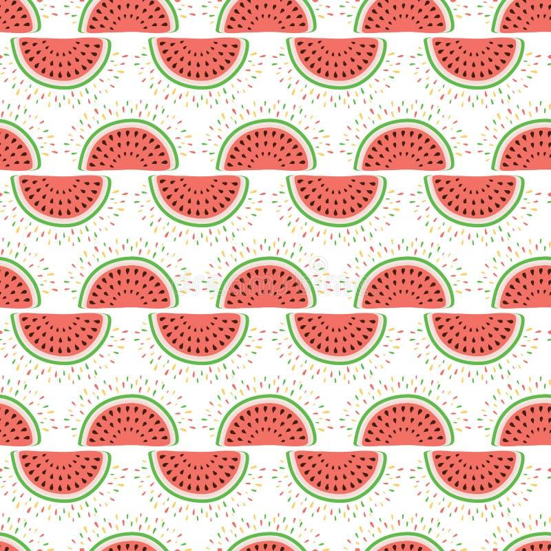 Teste padrão sem emenda da melancia do verão Fundo alegre do fruto ilustração royalty free