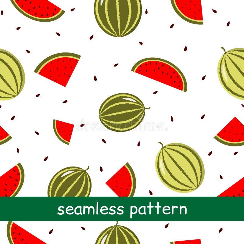 Teste padrão sem emenda da melancia em um fundo branco ilustração royalty free