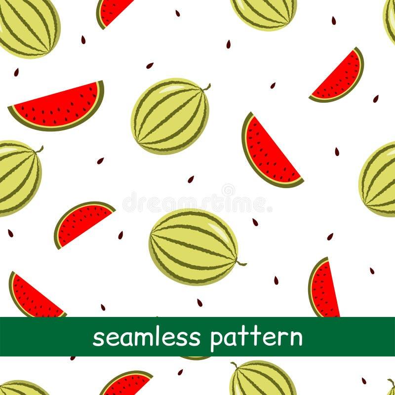Teste padrão sem emenda da melancia em um fundo branco ilustração do vetor
