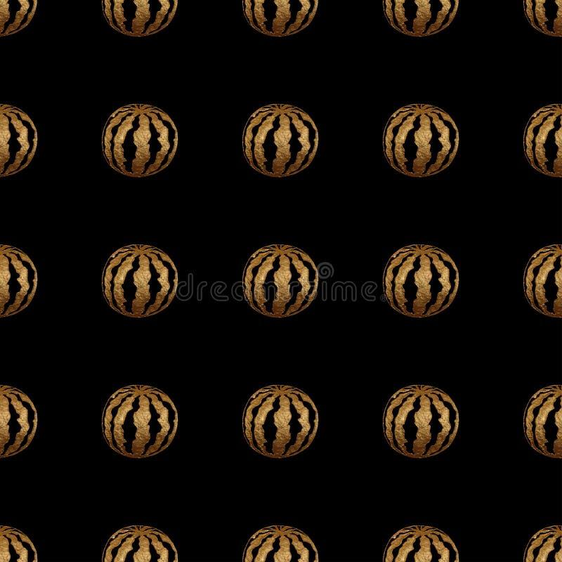 Teste padrão sem emenda da melancia pintado à mão do ouro imagens de stock royalty free