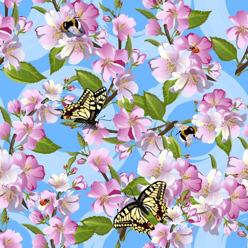 Teste padrão sem emenda da mola com as flores da maçã, das borboletas de Machaon, dos zangões e das joaninha contra um céu azul ilustração stock