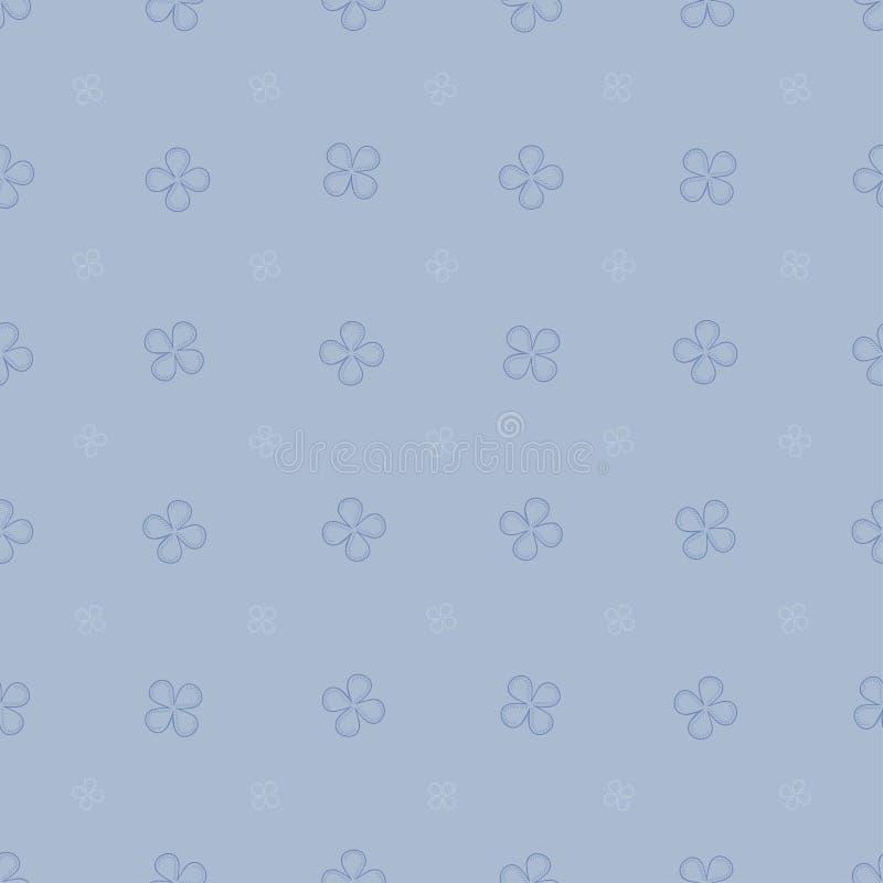 Teste padrão sem emenda da mola com com as quatro flores das pétalas em tons azuis pasteis ilustração royalty free