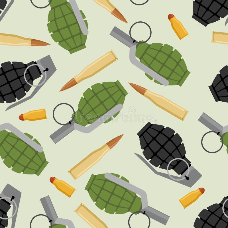Teste padrão sem emenda da munição militar Textura das forças armadas da granada e da munição ilustração do vetor