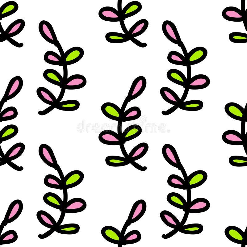 Teste padrão sem emenda da natureza das folhas coloridas Vetor ilustração stock
