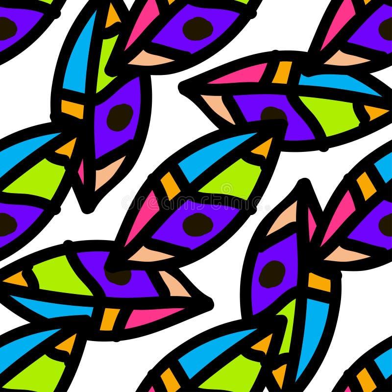 Teste padrão sem emenda da natureza das folhas coloridas Vetor ilustração royalty free