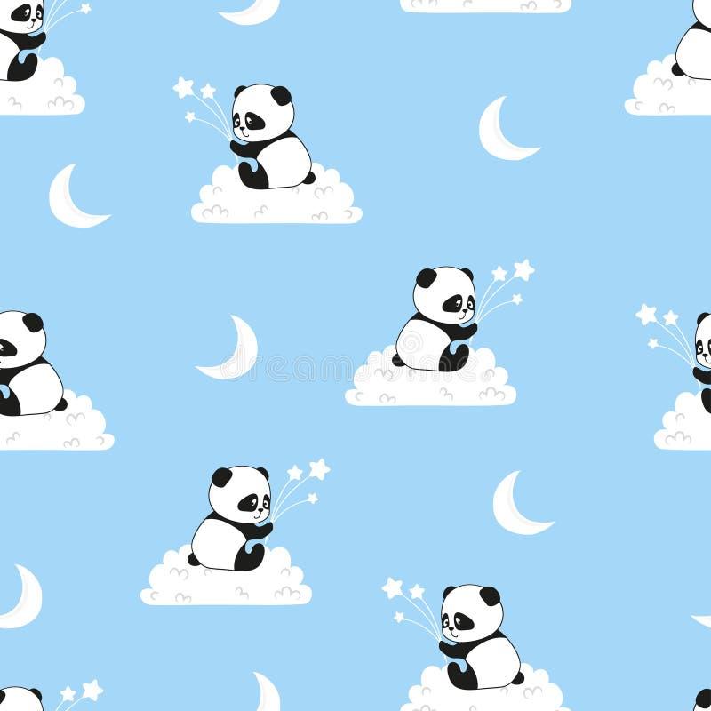 Teste padrão sem emenda da noite com os ursos de panda bonitos nas nuvens ilustração royalty free