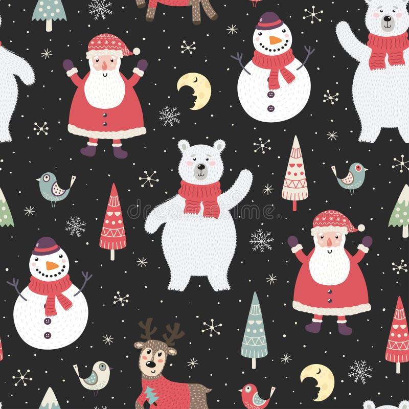 Teste padr?o sem emenda da noite de Natal com car?teres bonitos: urso polar, Santa Claus ilustração royalty free