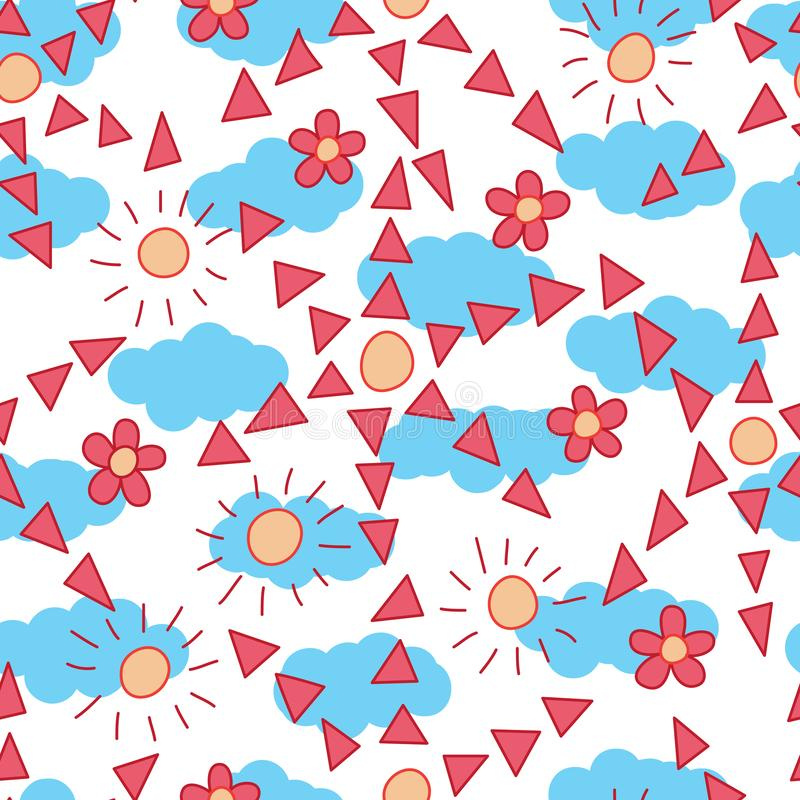 Teste padrão sem emenda da nuvem do sol do triângulo do estilo da flor ilustração do vetor
