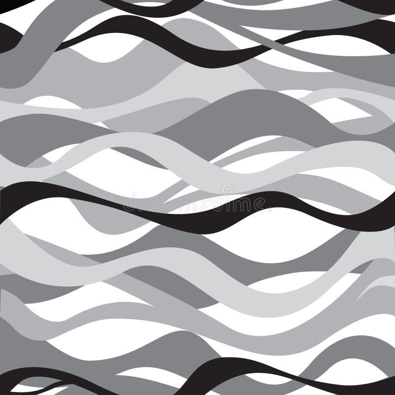 Teste padrão sem emenda da onda Fundo preto e branco ilustração stock