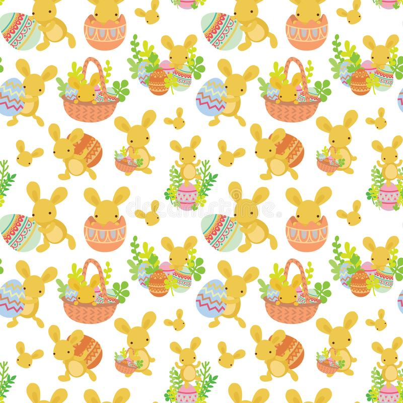 Teste padrão sem emenda da Páscoa bonito do coelho com ovos ilustração do vetor