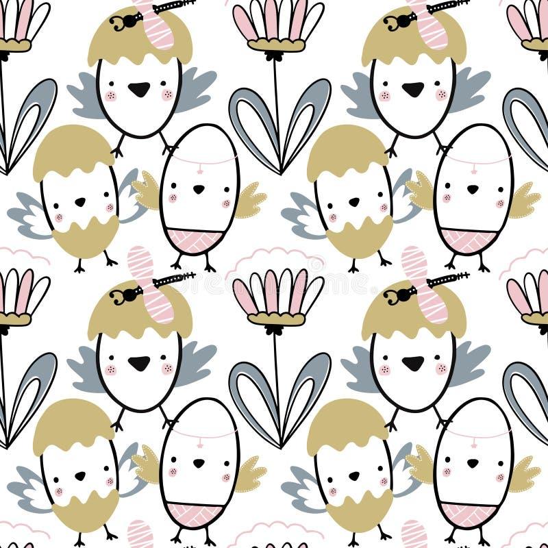 Teste padrão sem emenda da Páscoa com flores, chiks e libélulas Ilustração escrita à mão do vetor ilustração royalty free