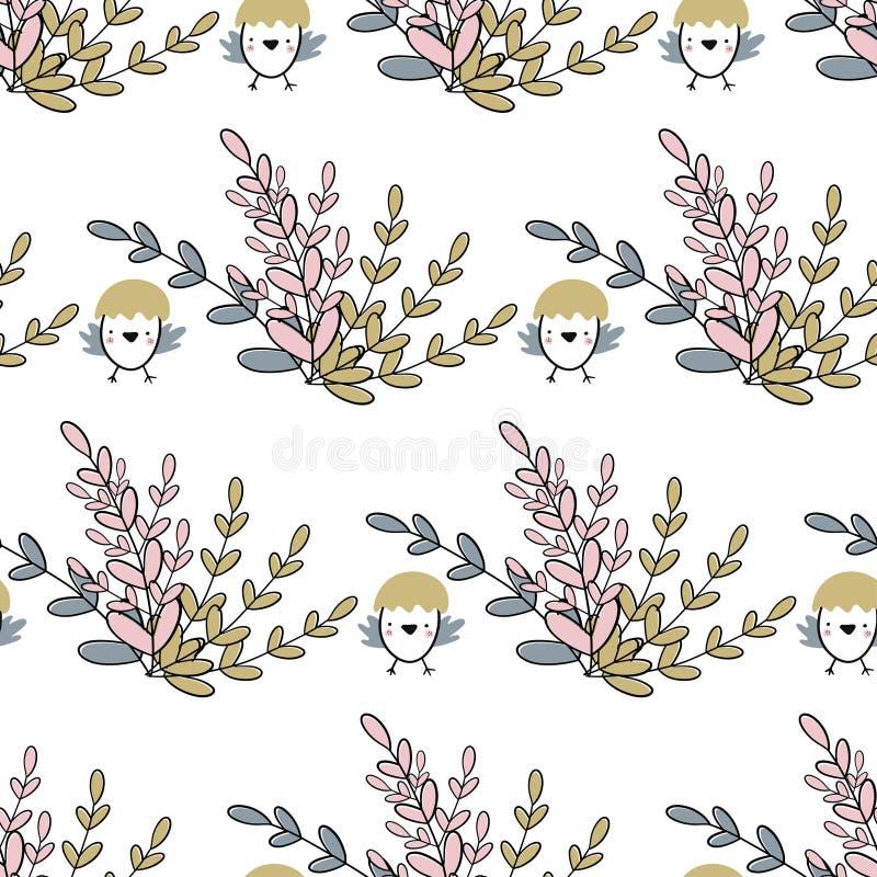 Teste padrão sem emenda da Páscoa com grupo de flores e de pintainhos Ilustração escrita à mão do vetor ilustração stock