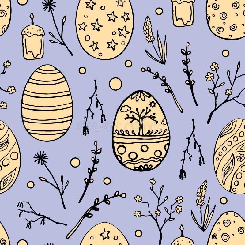 Teste padrão sem emenda da Páscoa com os ovos decorativos da garatuja e motivos florais Fundo do feriado da mola do vintage Mão d ilustração royalty free