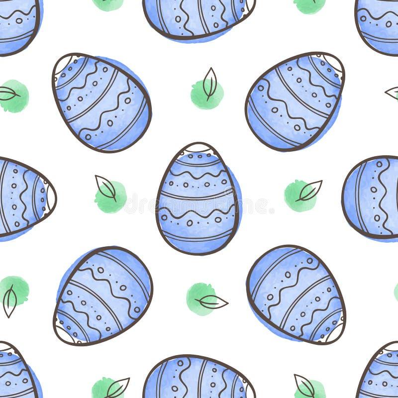 Teste padrão sem emenda da Páscoa com ovos azuis ilustração stock