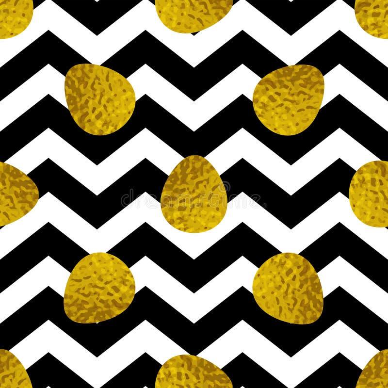 Teste padrão sem emenda da Páscoa com ovos dourados ilustração do vetor