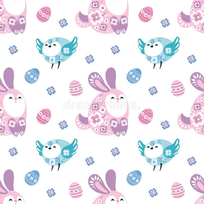 Teste padrão sem emenda da Páscoa com pássaros e coelhos ilustração stock