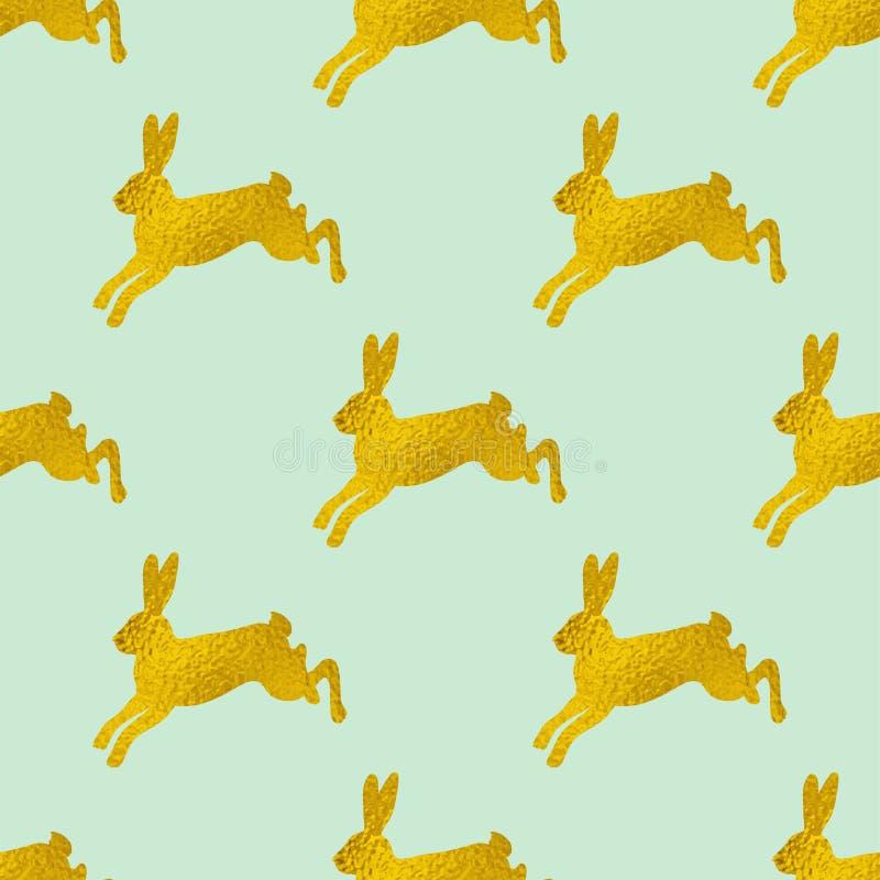 Teste padrão sem emenda da Páscoa dourada com coelhos ilustração do vetor