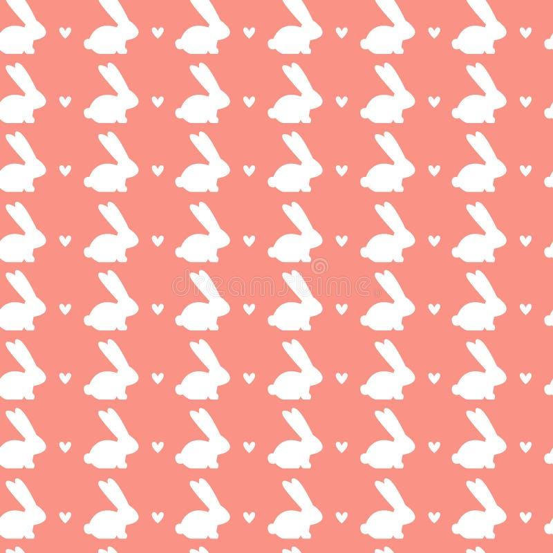 Teste padrão sem emenda da Páscoa feliz com o ornamento branco dos coelhos no fundo cor-de-rosa ilustração royalty free