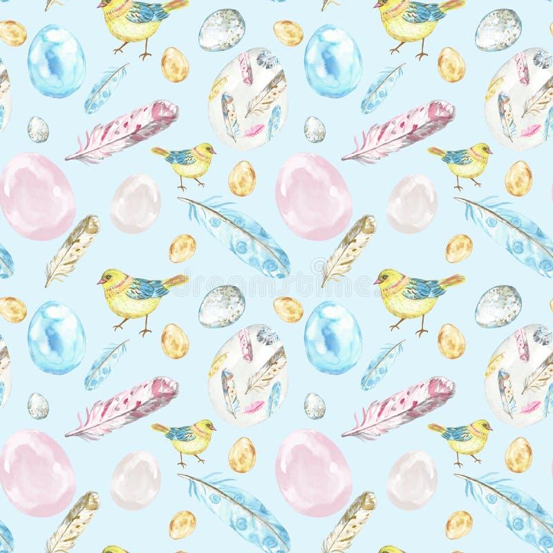 Teste padrão sem emenda da Páscoa da mola da aquarela no fundo azul pastel com pássaros dos pintainhos, ovos, penas ilustração stock