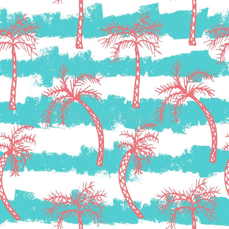 Teste padrão sem emenda da palmeira ilustração do vetor