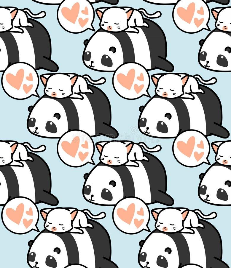 Teste padrão sem emenda da panda e do gato fotos de stock royalty free