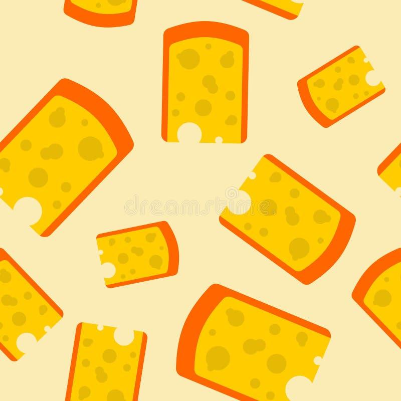 Teste padrão sem emenda da parte do queijo Fundo de produtos láteos amarelo ilustração royalty free