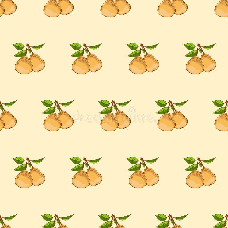 Teste padrão sem emenda da pera Conceito do vetor dos legumes frescos Uma dieta saudável é um estilo liso da ilustração ilustração stock