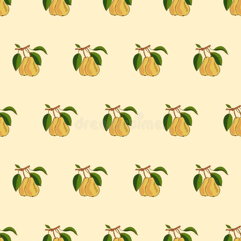 Teste padrão sem emenda da pera Conceito do vetor dos legumes frescos Uma dieta saudável é um estilo liso da ilustração ilustração do vetor
